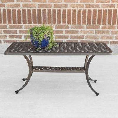 Cast Aluminum Wicker Style Patio Coffee Table in Antique Bronze