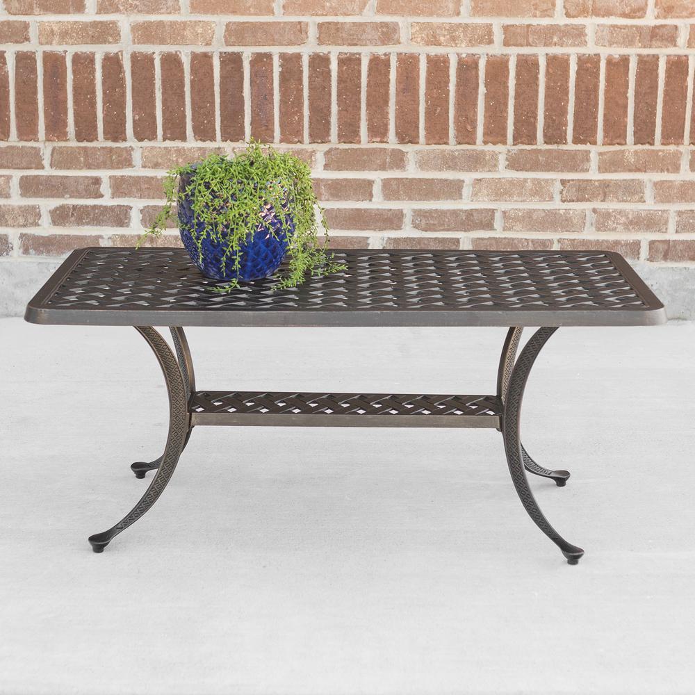 Cast Aluminum Wicker Style Patio Coffee Table In Antique Bronze