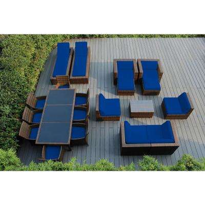Mixed Brown 20-Piece Wicker Patio Combo Conversation Set with Sunbrella Pacific Blue Cushions