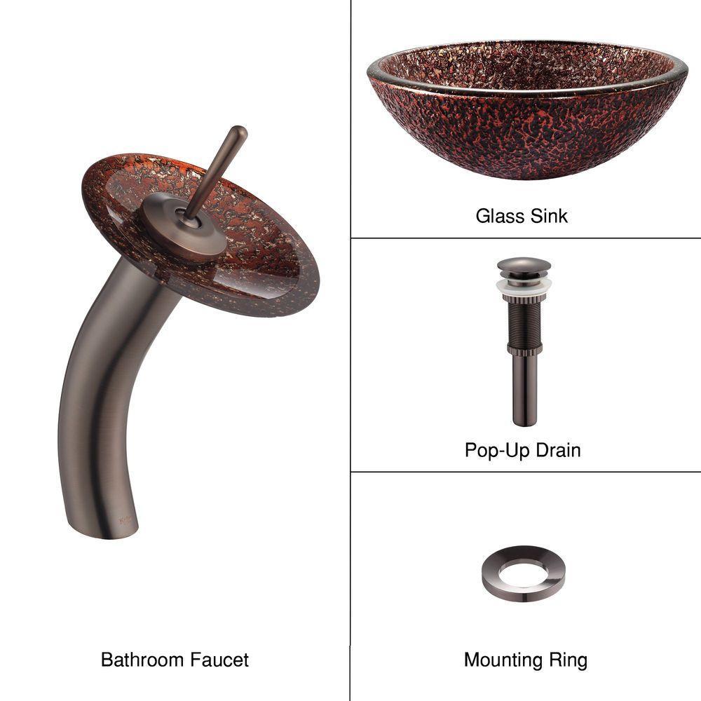 KRAUS Venus Glass Vessel Sink in Brown with Waterfall Faucet in Oil Rubbed Bronze