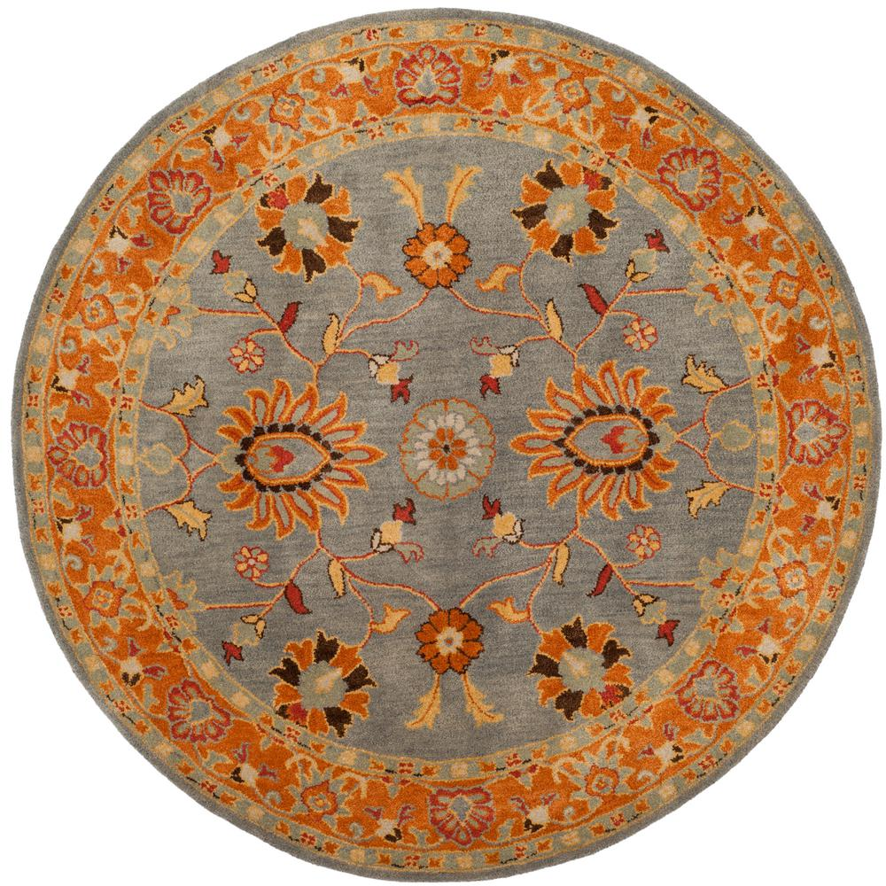 Safavieh Heritage Blue Orange 8 Ft X Round Area Rug