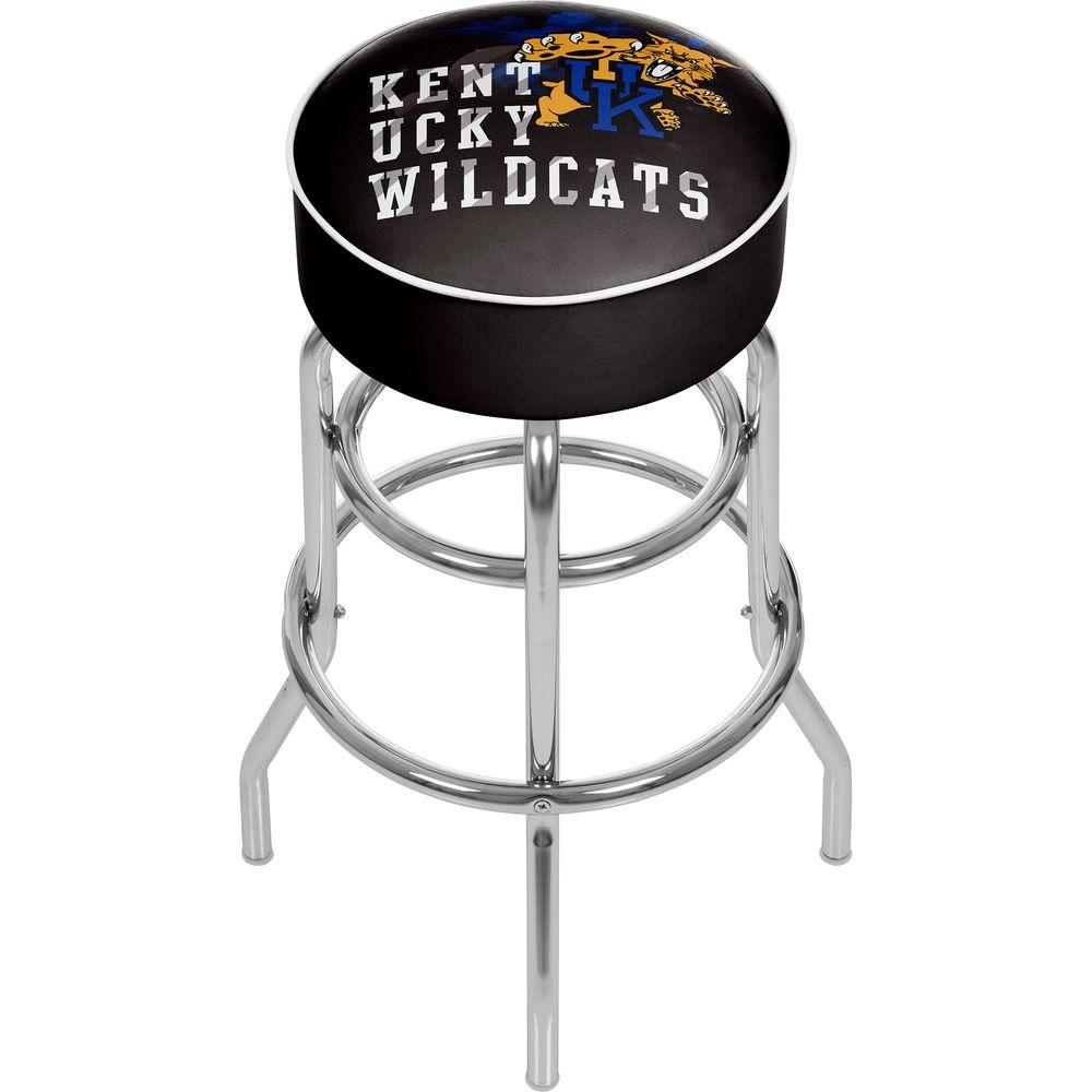 Trademark University of Kentucky Smoke 31 in. Chrome Padded Bar Stool, Black With this festive Trademark University of Kentucky Smoke Bar Stool, you can decorate your home turf and boast your team spirit. This stool has a modern style, offering a contemporary addition to your existing decor. It is designed with a swivel mechanism, making it easy to get in and out without needing to pull the stool out. Made from metal, the frame can tolerate frequent use, making it excellent for any home. This stool features a vinyl seat, which resembles leather and is particularly easy to clean. This multi-colored stool is ideal for livening up your room decor and will contrast nicely with more basic styles. Designed with a University of Kentucky logo, it is an ideal choice for sports fanatics. It features a foot rest, promoting proper sitting posture with its ergonomic design. Color: Black.