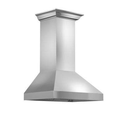 ZLINE 30 in. Wall Mount Range Hood in Stainless Steel with Crown Molding