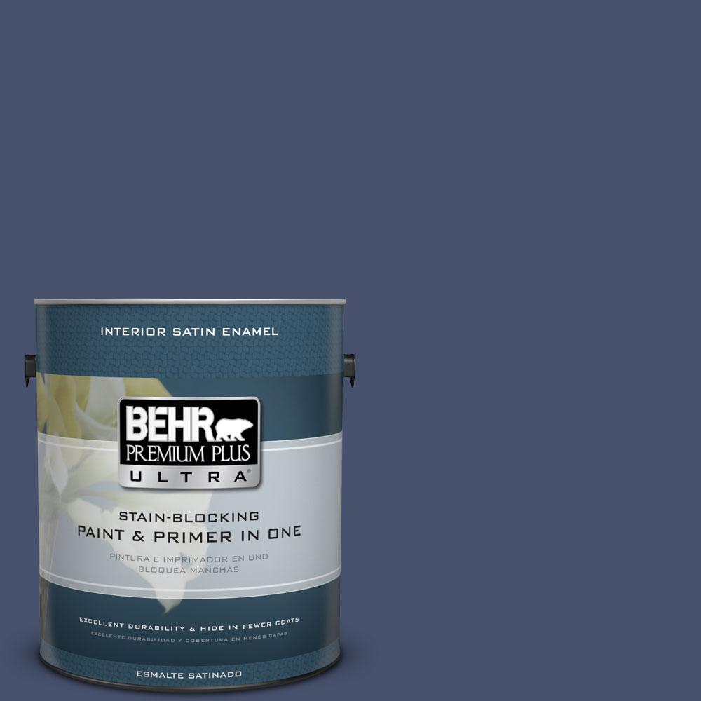 1 gal. #M530-7 Elegant Navy Satin Enamel Interior Paint