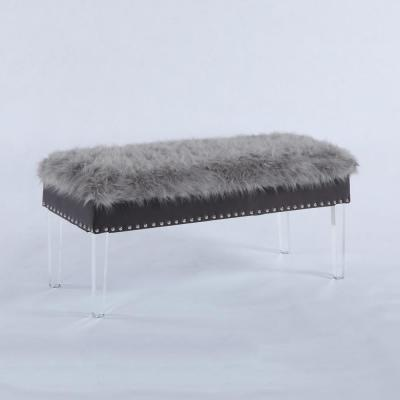 20 in. Gray Faux Fur Top Nail Head Storage Bench with Acrylic Legs