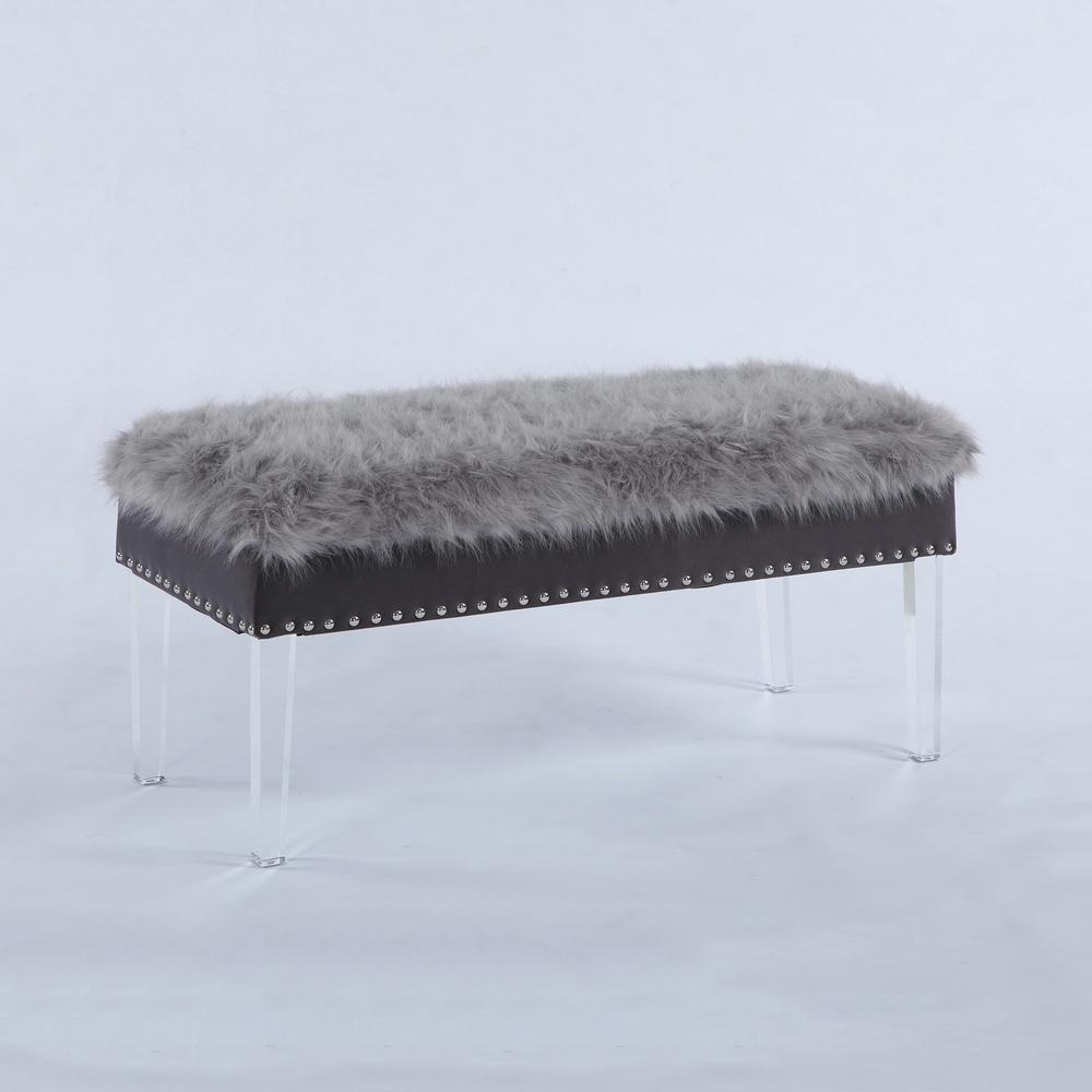 20 in. Gray Faux Fur Top Nail Head Storage Bench with