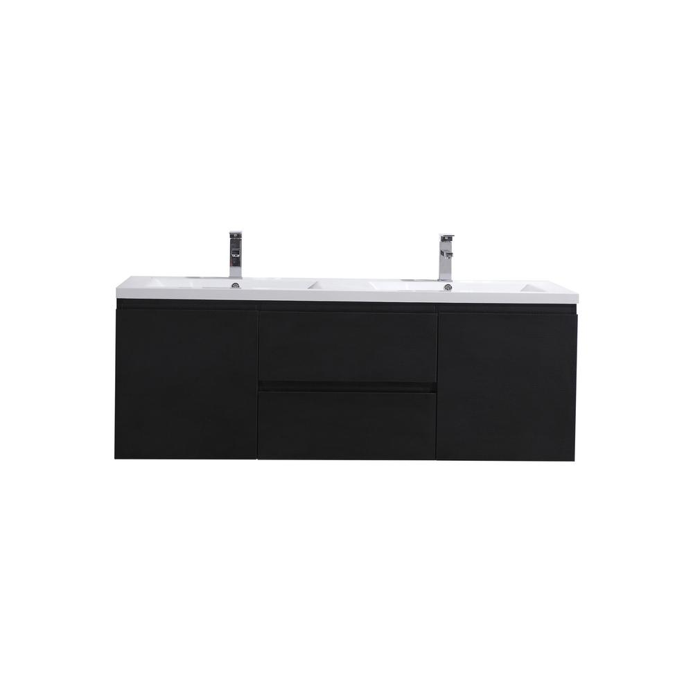 Moreno Bath Bohemia 60 in. W Bath Vanity in Rich Black with Reinforced Acrylic Vanity Top in White with White Basins