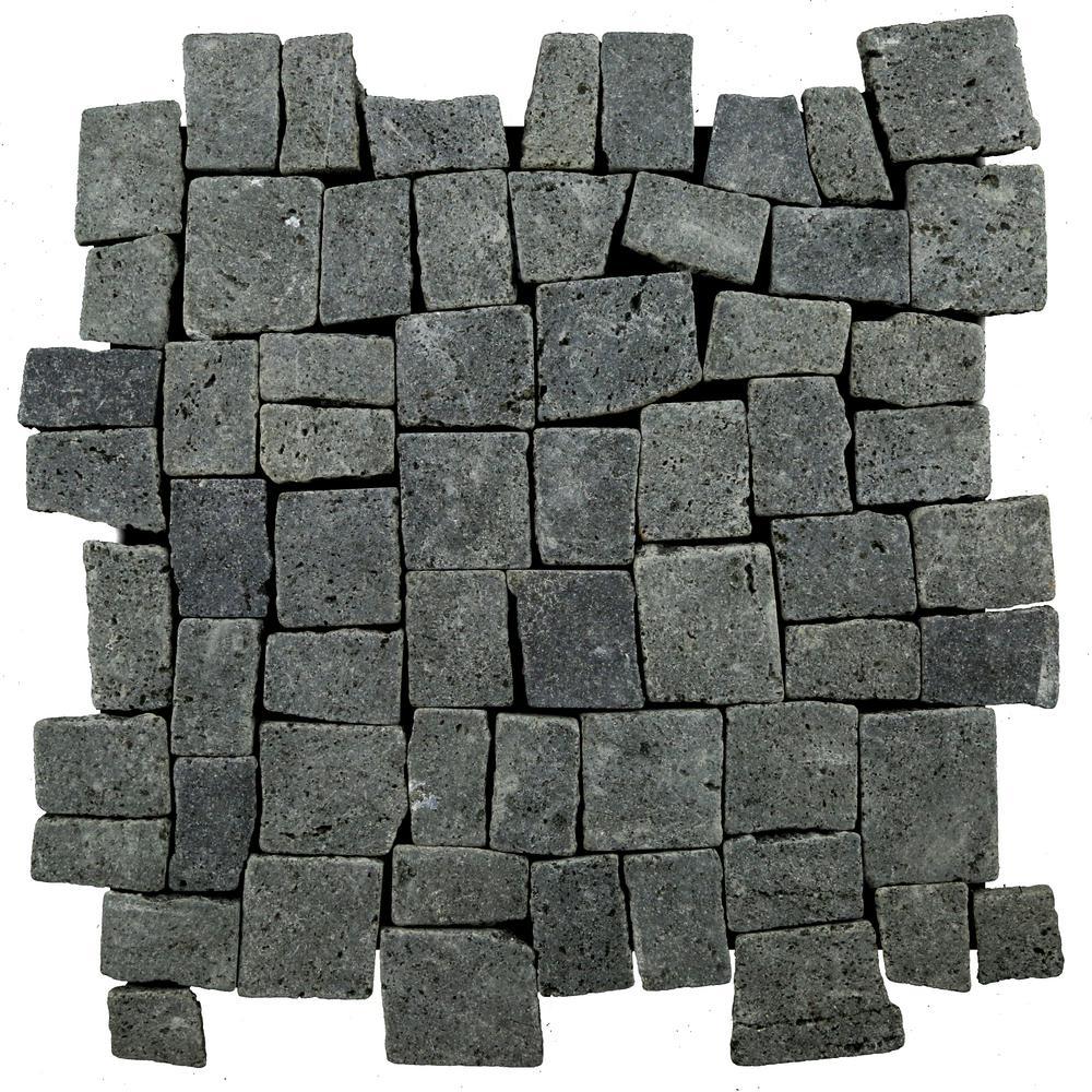 Block Tile Black 11-3/4 in. x 11-3/4 in. x 9.5 mm Mesh-Mounted Mosaic Tile (10.67 sq. ft. / case)