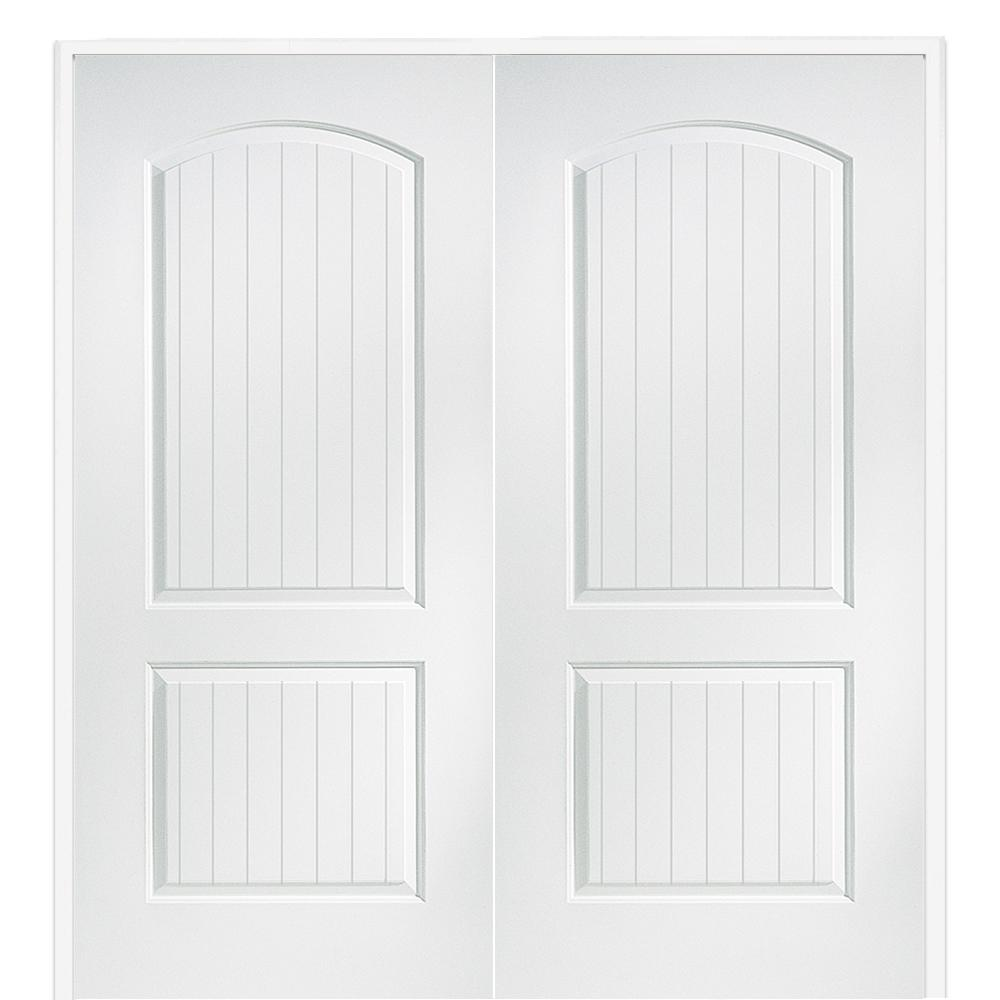 Mmi Door 60 In X 80 In Smooth Cashal Both Active Solid Core Primed Molded Mdf Double Prehung