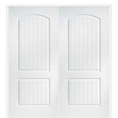 72 in. x 80 in. Smooth Cashal Both Active Solid Core Primed Molded Composite Double Prehung Interior Door