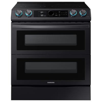 30 in. 6.3 cu. ft. Flex Duo Slide-In Electric Range with Smart Dial and Air Fry in Fingerprint Resistant Black Stainless