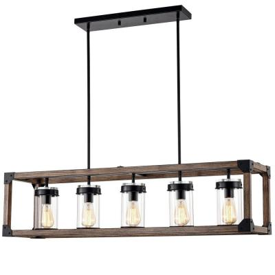 Jhenny 44 in. 5-Light Indoor Black Pendant Lamp with Light Kit