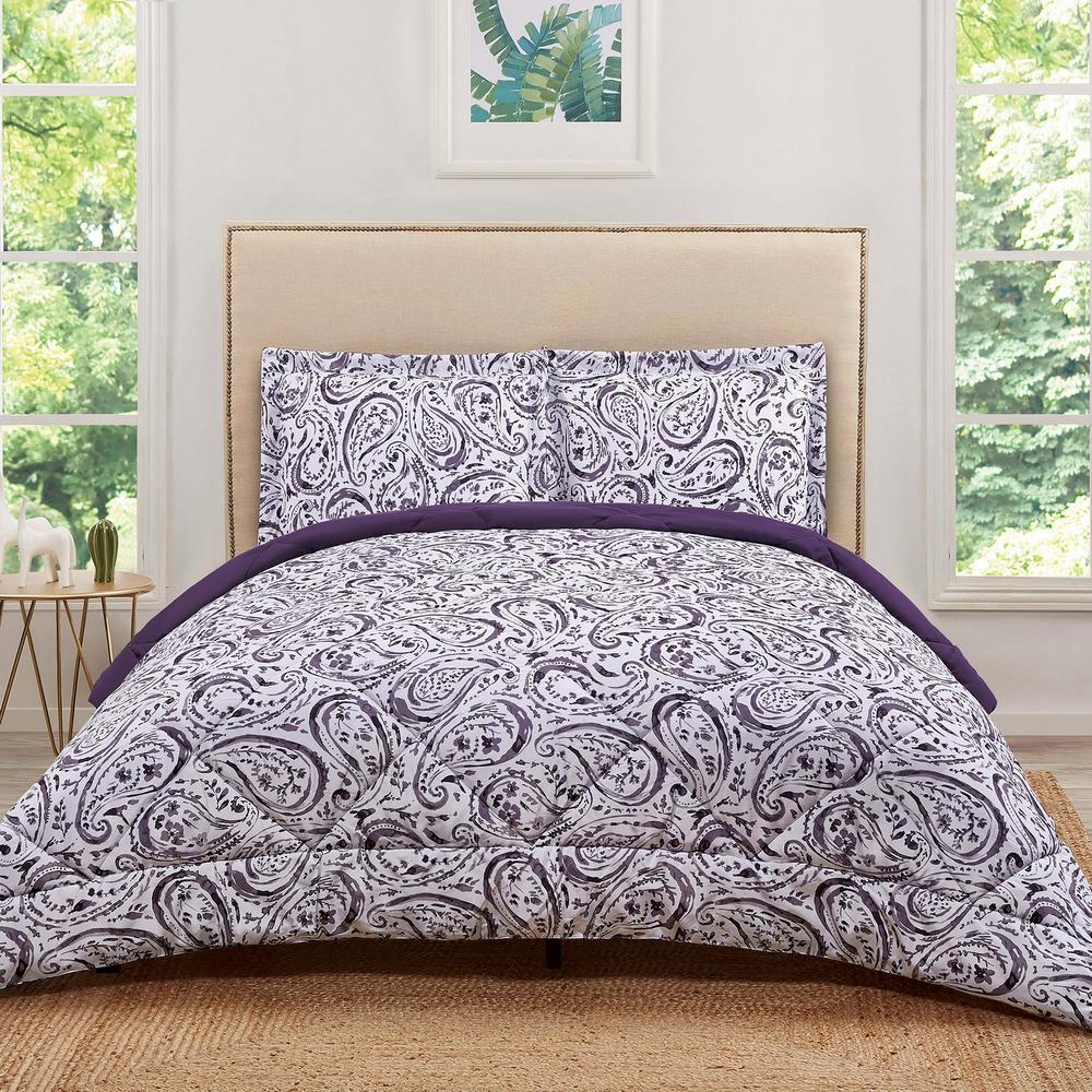 Watercolor paisley eggplant king comforter set