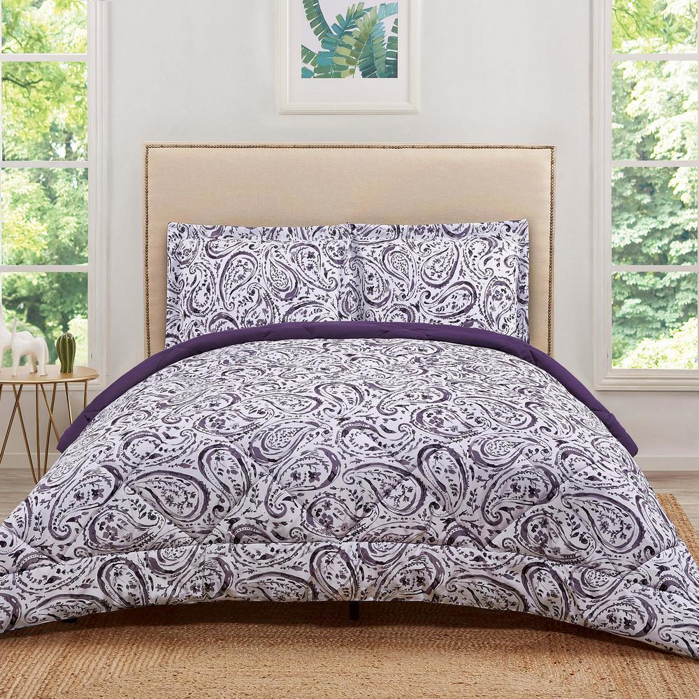 Watercolor Paisley Eggplant Twin Extra Long Comforter Set