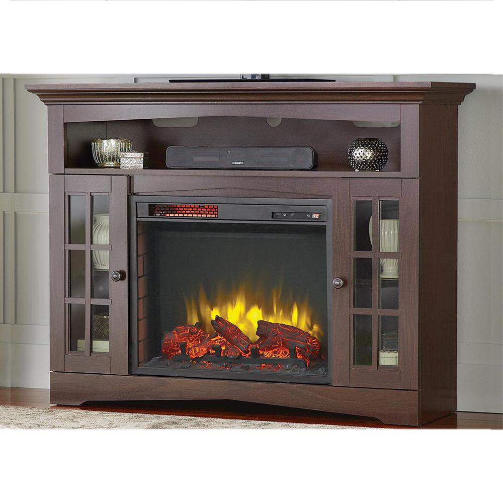 Provide supplemental heat for your areas with Home Decorators Collection Avondale Grove Media Console Infrared Electric Fireplace in Aged Black.
