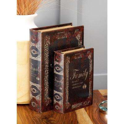 "Vintage Rectangular Wood and Faux Leather ""Family"" Book Boxes (Set of 3)"