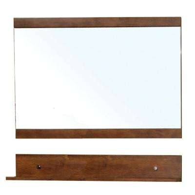 Charles 34 in. L x 40 in. W Wall Mirror Cabinet in Walnut