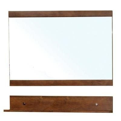 Charles 40 in. W x 34 in. H Framed Rectangular Bathroom Vanity Mirror in walnut