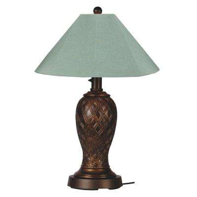 Monterey 34 in. Bronze Outdoor Table Lamp with Spa Shade