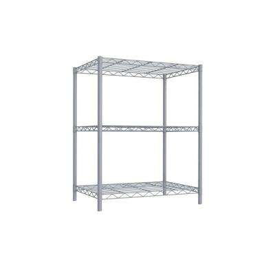 3-Tier 32 in. Steel Wire Shelf Gray