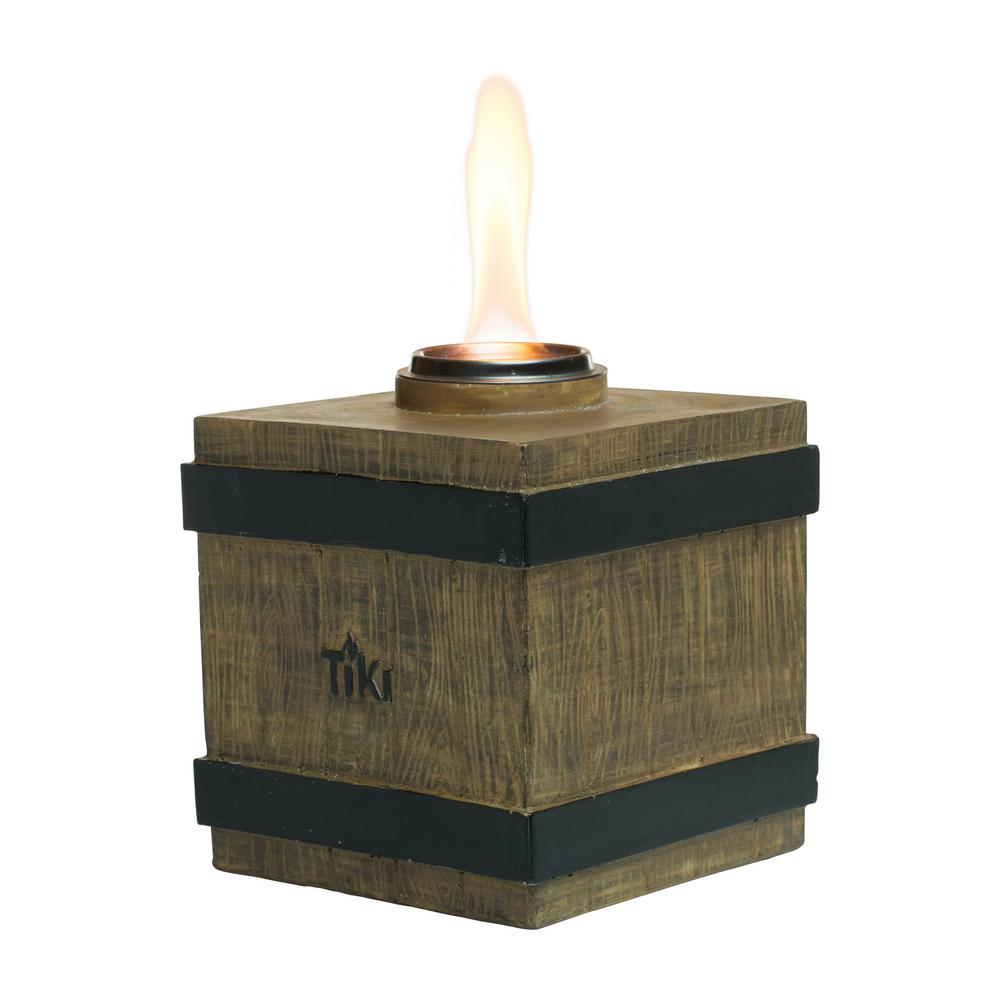Tiki 7 In Clean Burn Fire Crate Resin Table Torch Brown