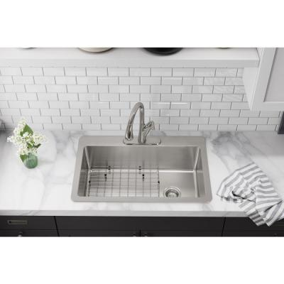 Avenue Drop-In/Undermount Stainless Steel 33 in. Single Bowl Kitchen Sink with Bottom Grid and Drain