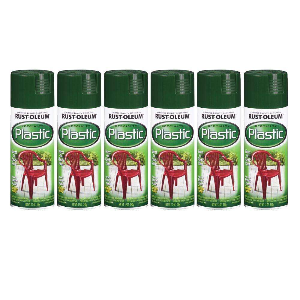 Rust-Oleum Specialty 12 oz. Semigloss Dark Hunter Green Plastic Spray Paint (6-Pack)-DISCONTINUED