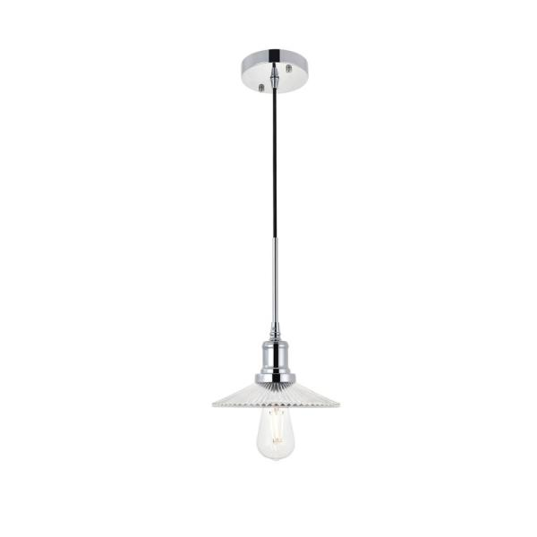 Timeless Home Walker 8.5 in. W x 5.6 in. H 1-Light Chrome and Clear Pendant with Shade