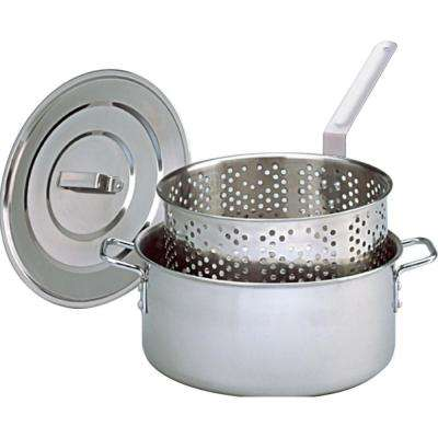 Stainless Steel Deep Fryer with Lid Two Helper Handles and Punched Basket