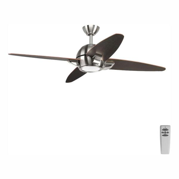 Progress Lighting Soar Collection 54 In Led Indoor Brushed Nickel Modern Ceiling Fan With Light Kit And Remote P2542 0930k The Home Depot