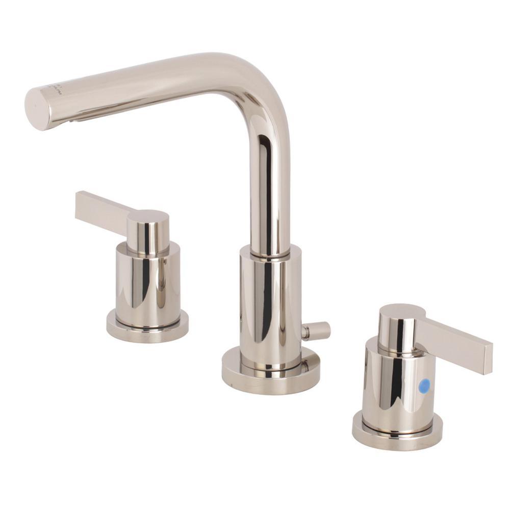Emilia 8 in. Widespread 2-Handle High-Arc Bathroom Faucet in Polished Nickel