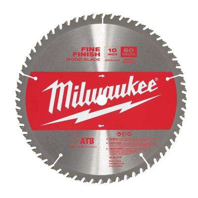 10 in. x 60 Teeth Fine Finish Wood Cutting Circular Saw Blade
