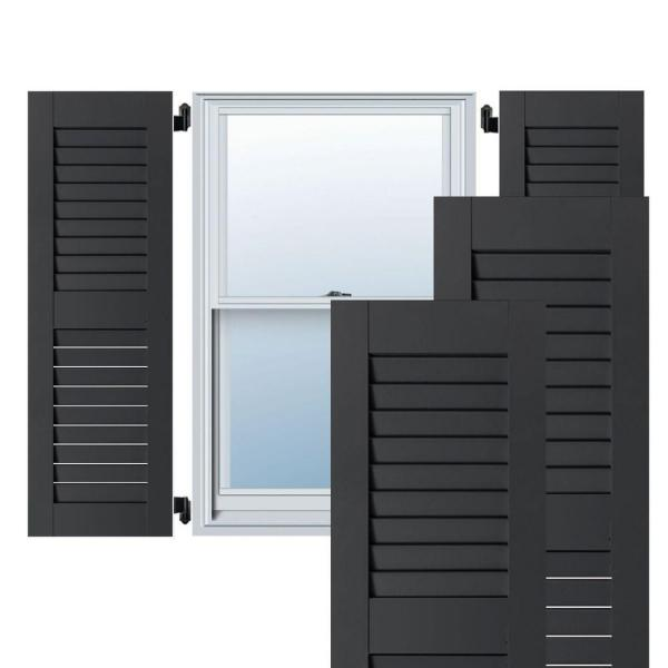 Ekena Millwork 15 In X 75 In Exterior Real Wood Pine Open Louvered Shutters Pair Black Rwl15x075blp The Home Depot