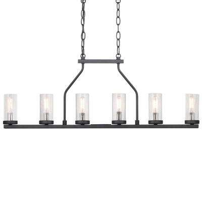 Hartwell 6-Light Graphite Island Chandelier with Antique Nickel Accents and Clear Seeded Glass