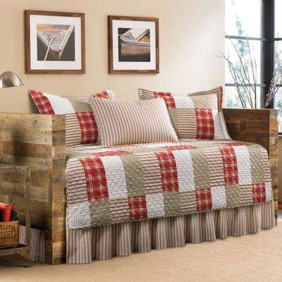 Camano Island 5-Piece Red/Khaki Twin Reversible Daybed Bedding Set