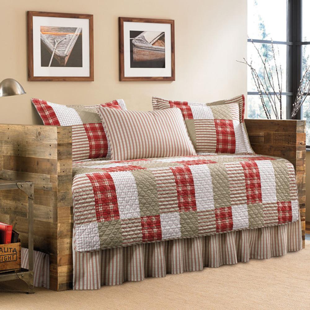 Eddie Bauer Camano Island 5 Piece Red/Khaki Twin Reversible Daybed Bedding  Set