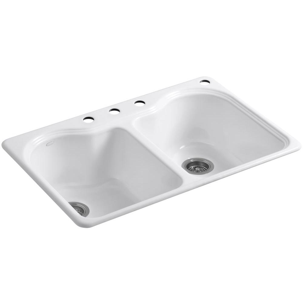KOHLER Hartland Drop In Cast Iron 33 In. 4 Hole Double Bowl Kitchen Sink In  White K 5818 4 0   The Home Depot
