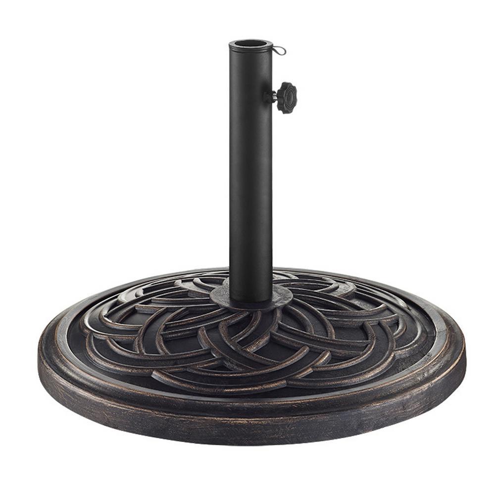 Circle Weave Round Metal Patio Umbrella Base in Antique Bronze