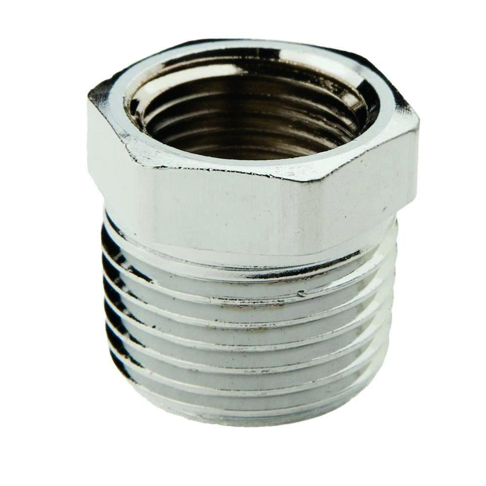 1/2 in. x 3/8 in. Lead-Free Chrome Plated Brass MIP x FIP Hex Bushing