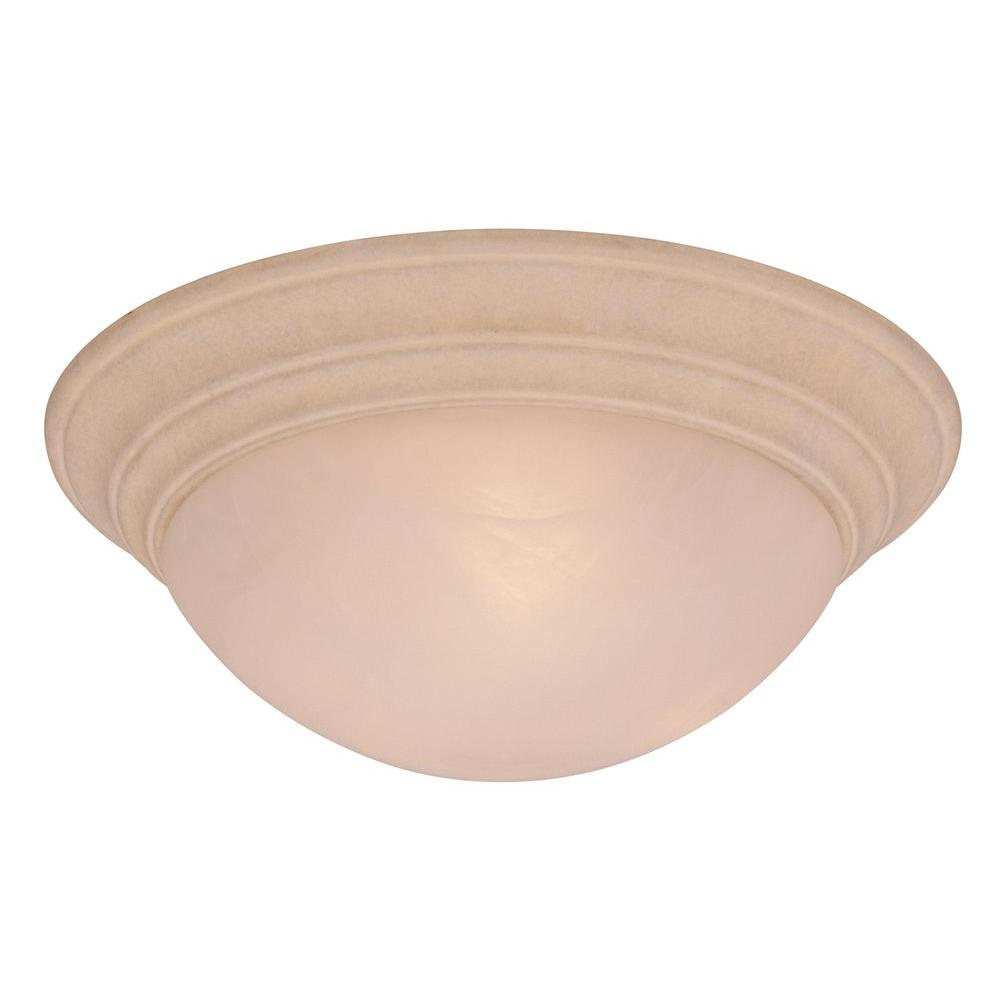 2-Light Beige/Bisque Sandstone Ceiling Flushmount
