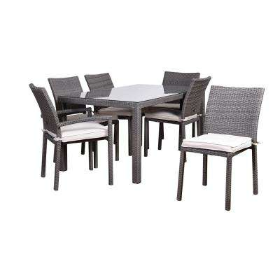 Atlantic Liberty 7-Piece Wicker Outdoor Dining Set with Off-White Cushions