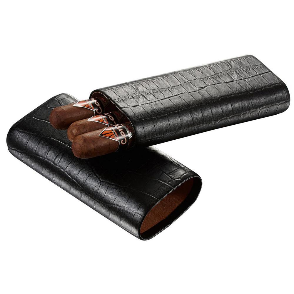 Draco Black Crocodile Pattern Cigar Case (Holds 3 Cigars)