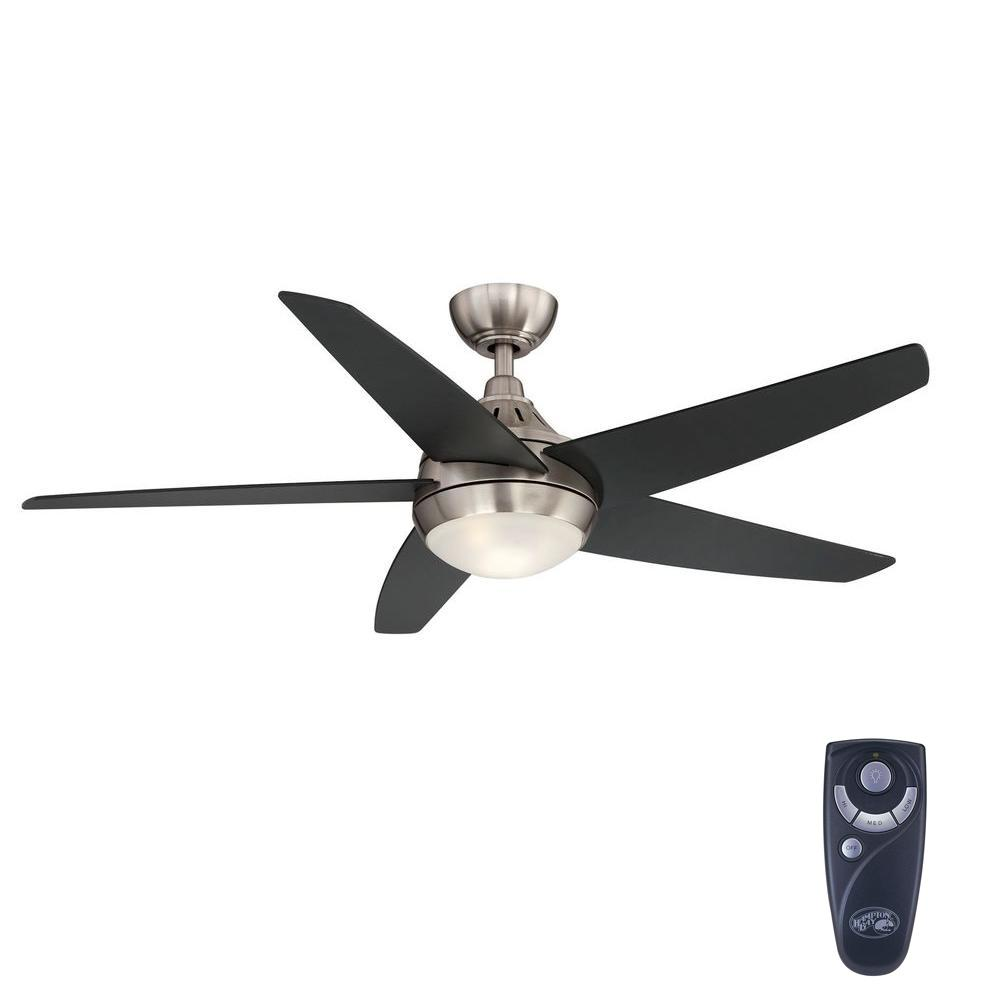 hampton bay etris 52 in led indoor brushed nickel ceiling fan with light kit and