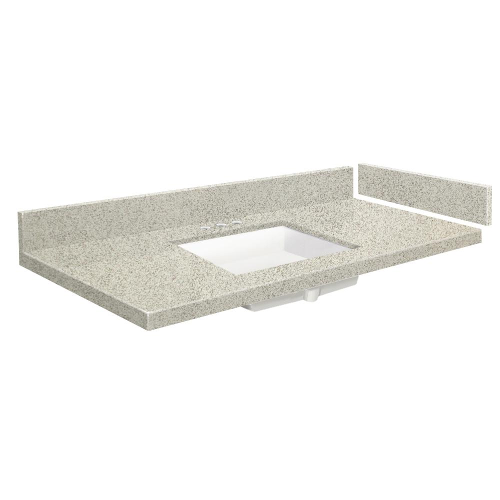 Transolid 40 in. W x 22.25 in. D Quartz Vanity Top in Portage Pass with Widespread White Basin