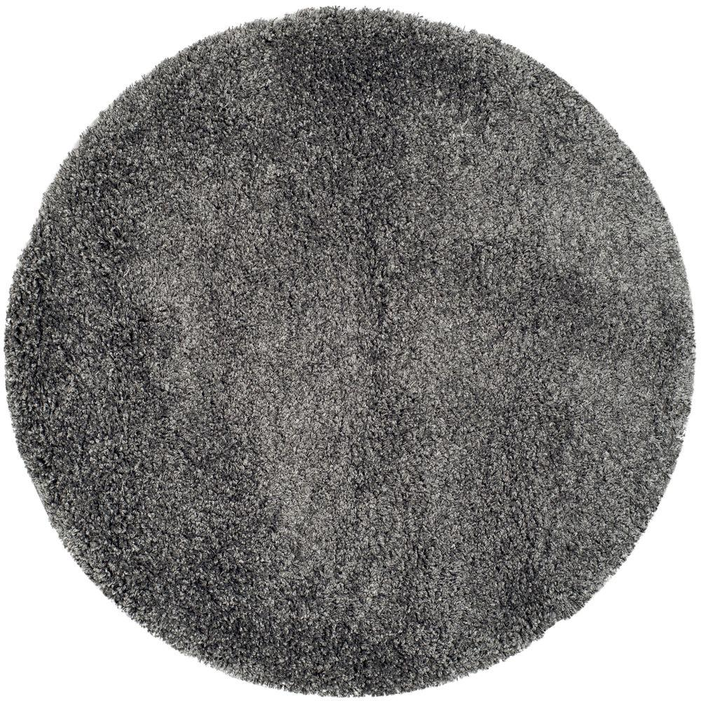 Safavieh Himalaya Turquoise 4 Ft X 4 Ft Round Area Rug: Safavieh California Shag Dark Gray 4 Ft. X 4 Ft. Round