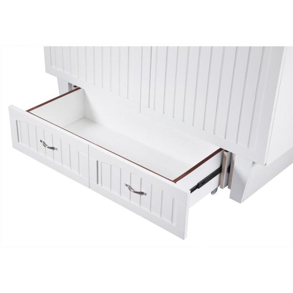 Atlantic Furniture Nantucket Murphy Bed White Queen Chest with Charging Station and Coolsoft Mattress