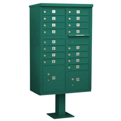 Green USPS Access Cluster Box Unit with 16 A Size Doors and Pedestal