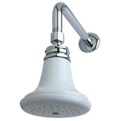 English Classic 1-Spray 5 in. Showerhead with Shower Arm in Chrome