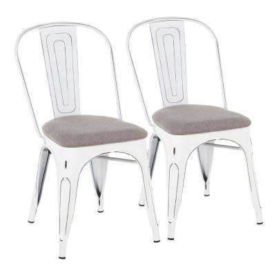 Oregon Light Grey and Vintage White Upholstered Dining Chair (Set of 2)