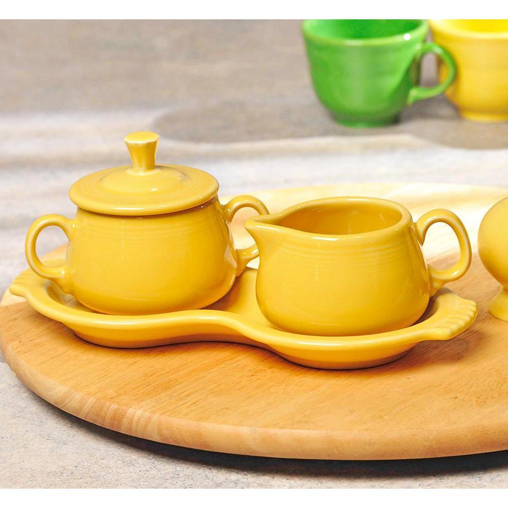 15 oz. 3-Piece Daffodil Sugar Bowl and Creamer Tray Set